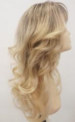 Sarı Ombreli Uzun Gerçek Saç Tepesi Tül Peruk - Thumbnail
