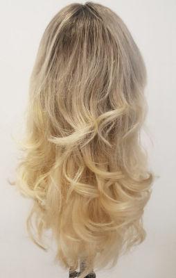 Sarı Ombreli Uzun Gerçek Saç Tepesi Tül Peruk
