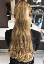 Prenses Peruk - Sarı Röfleli 65 cm Kaliteli Sentetik Atkuyruk Postiş Saç