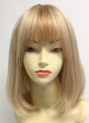 Sarı Röfleli Omuz Boyu Küt Gerçek Saç Peruk - Thumbnail