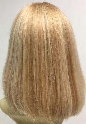 Sarı Röfleli Omuz Boyu Küt Gerçek Saç Peruk