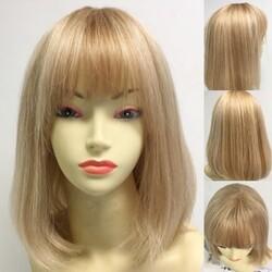 Prenses Peruk - Sarı Röfleli Omuz Boyu Küt Gerçek Saç Peruk