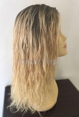 Sarı Röfleli Uzun Boy Gerçek Saç Medikal Peruk
