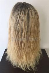 Sarı Röfleli Uzun Boy Gerçek Saç Medikal Peruk - Thumbnail