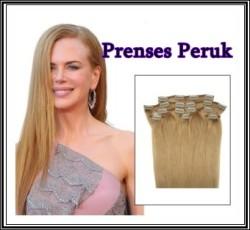 Prenses Peruk - Sentetik Çıt Çıt Saç Koyu Sarı Kaliteli 8 Adet