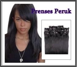 Prenses Peruk - Sentetik Çıt Çıt Saç Siyah 8 Parça
