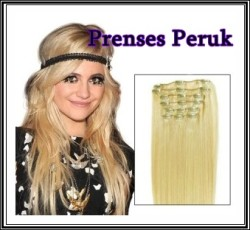 Prenses Peruk - Sentetik Çıt Çıt Takımı Sarı Renk 65 cm Isıya Dayanıklı Sentetik