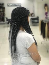 Siyah Beyaz Zenci Örgüsü Kaynak Saç - Thumbnail