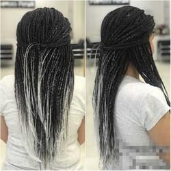 Prenses Peruk - Siyah Beyaz Zenci Örgüsü Kaynak Saç