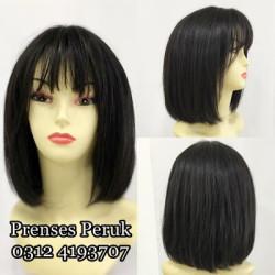 Siyah Doğal Saç Gür Model Peruk - Thumbnail