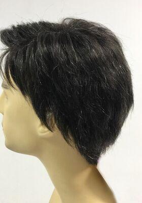 Siyah Renk Beyaz Kırçıllı Gerçek Saç Erkek Peruk