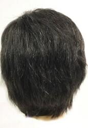 Siyah Renk Beyaz Kırçıllı Gerçek Saç Erkek Peruk - Thumbnail