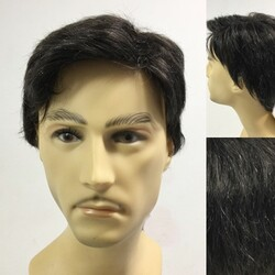 Prenses Peruk - Siyah Renk Beyaz Kırçıllı Gerçek Saç Erkek Peruk