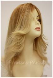 Prenses Peruk - Uzun Doğal Saç Peruk Platin Röfleli Kahkülsüz